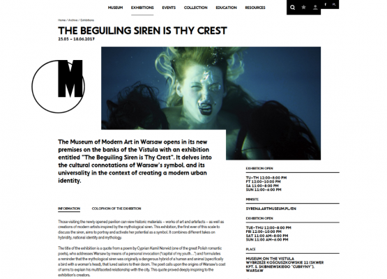 The Beguiling Siren is Thy Crest, Museum of Modern Art in Warsaw